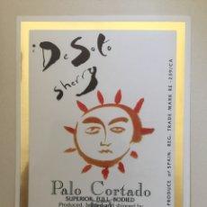 Etiquetas antiguas: ETIQUETA DE VINO DE SOTO SHERRY - PALE CORTADO - BODEGAS JOSÉ DE SOTO - JEREZ XÉRÈS SHERRY. Lote 94727919