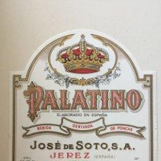 Etiquetas antiguas: ETIQUETA DE LICOR PONCHE SOTO - PALATINO - BODEGAS JOSÉ DE SOTO - JEREZ XÉRÈS SHERRY. Lote 94735092