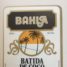 Etiquetas antiguas: ETIQUETA DE LICOR BATIDA DE COCO DE SOTO - BAHIA - BODEGAS JOSÉ DE SOTO - JEREZ XÉRÈS SHERRY. Lote 94735618