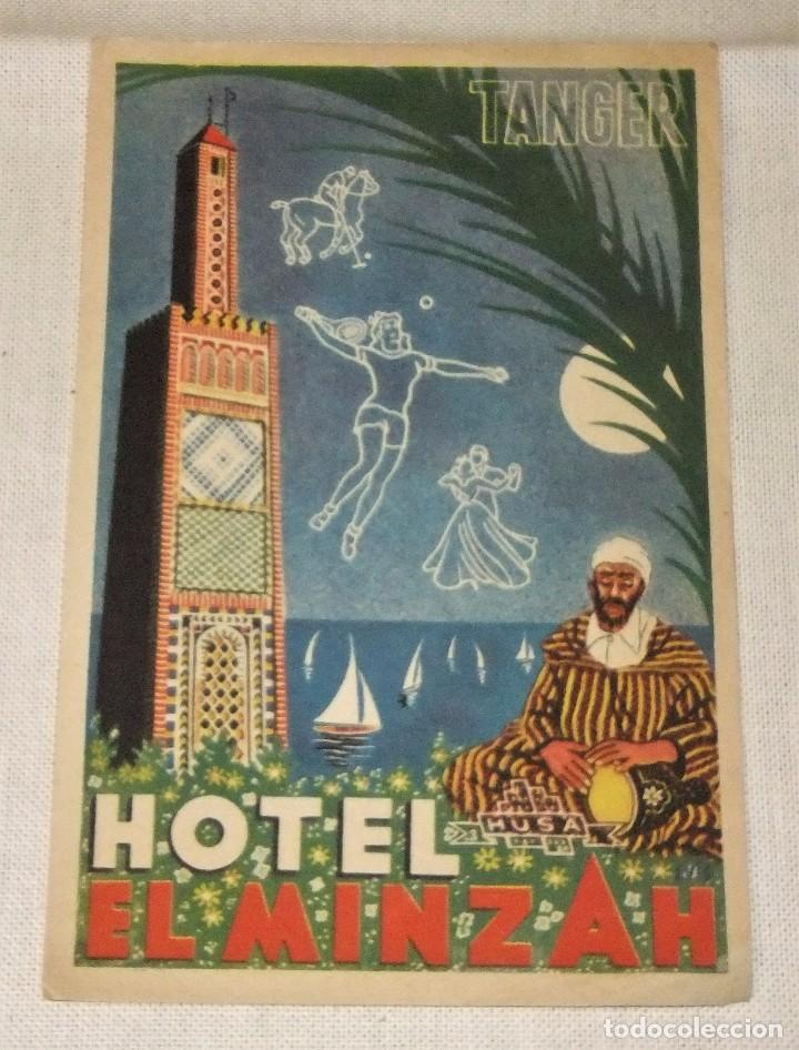 TIQUETA HOTEL EL MINZAH TANGER 11,3 X 7,5 CMS (Coleccionismo - Etiquetas)