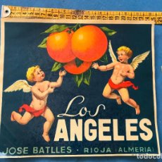 Etiquetas antiguas: ETIQUETA ANTIGUA NARANJAS LOS ANGELES JOSE BATLLES RIOJA ALMERIA 24 X 21. Lote 94816363