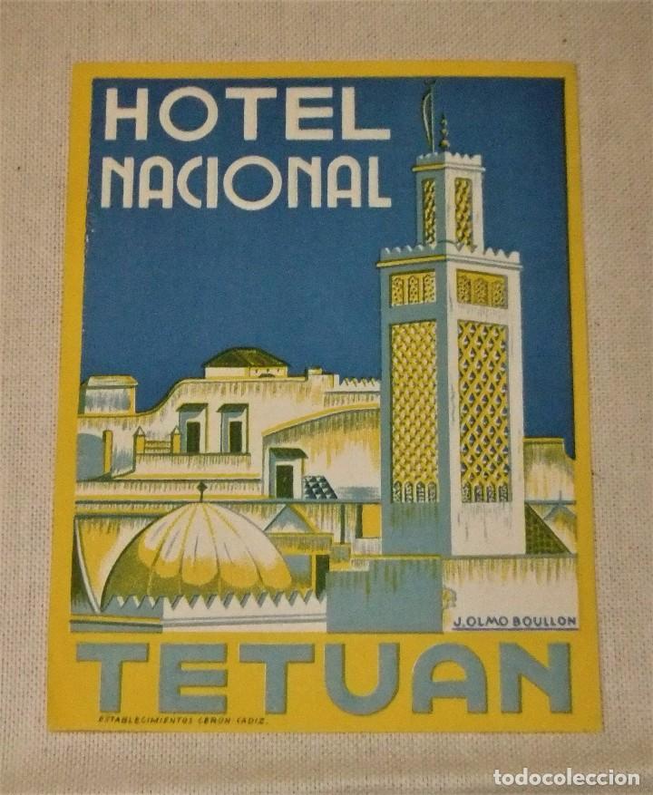ETIQUETA HOTEL NACIONAL TETUAN 12,5 X 9,5 CMS (Coleccionismo - Etiquetas)
