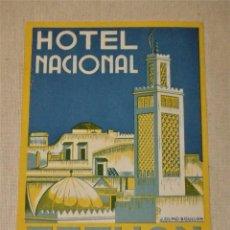 Etiquetas antiguas: ETIQUETA HOTEL NACIONAL TETUAN 12,5 X 9,5 CMS. Lote 94817483
