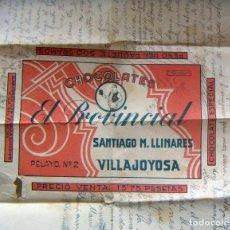 Etiquetas antiguas: ENVOLTORIO CHOCOLATES EL PROVINCIAL VILLAJOYOSA. Lote 96125003