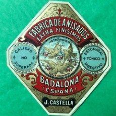 Etiquetas antiguas: ANTIGUA ETIQUETA FÁBRICA DE ANISADOS - LAS TRES PALOMAS (BADALONA) - J. CASTELLÁ - ANIS. Lote 95628471