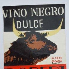 Etiquetas antiguas: ETIQUETA DE VINO NEGRO DULCE ROBERT SITGES ESPAÑA 8 X 11CM. Lote 96383739