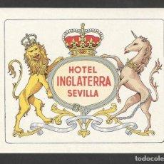 Etiquetas antiguas: HOTEL INGLATERRA- SEVILLA- ETIQUETA DE HOTEL. Lote 96622379