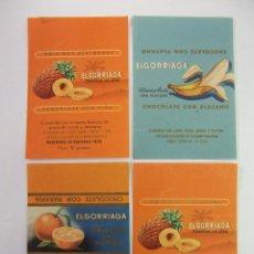 Etiquetas antiguas: LOTE DE 4 ANTIGUAS ETIQUETAS ANUNCIO DE ELGORRIAGA CHOCOLATE CON PLATANO PIÑA NARANJA. TDKP12. Lote 98561007