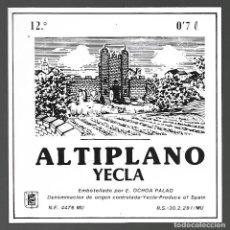 Etiquetas antiguas: ETIQUETA ALTIPLANO, ENRIQUE OCHOA PALAO, YECLA. AÑOS 80. SIN PEGAR, IMPECABLE.. Lote 98821315