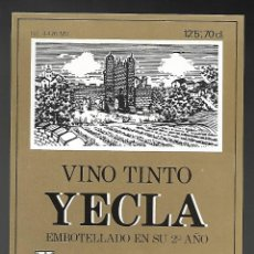 Etiquetas antiguas: ETIQUETA VINO TINTO YECLA, EMBOTELLADO 2º AÑO. AÑOS 80. SIN PEGAR, IMPECABLE.. Lote 98821567
