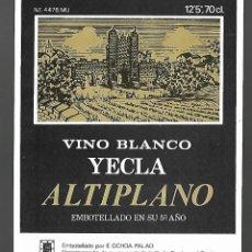 Etiquetas antiguas: ETIQUETA VINO BLANCO YECLA ALTIPLANO 5º AÑO. AÑOS 80. SIN PEGAR, IMPECABLE.. Lote 98821695