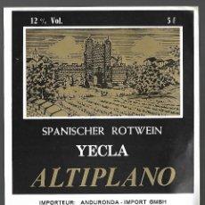 Etiquetas antiguas: ETIQUETA GRANDE YECLA ALTIPLANO SPANISCHER ROTWEIN. AÑOS 80. SIN PEGAR, IMPECABLE.. Lote 98822075