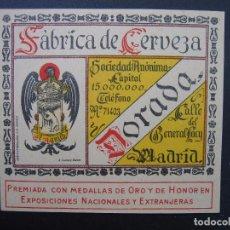 Etiquetas antiguas: ANTIGUA ETIQUETA FACTORÍA DE CERVEZA EL AGUILA. MADRID. Lote 98938563