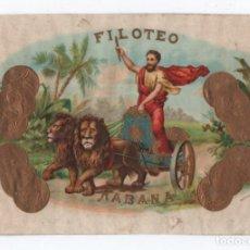 Etiquetas antiguas: (ALB-TC-10) DIFICIL ETIQUETA PUROS HABANOS FILOTEO HABANA. Lote 99764691