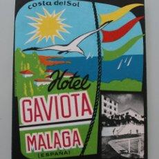 Etiquetas antiguas: ANTIGUA ETIQUETA HOTEL GAVIOTA MALAGA COSTA DEL SOL – ORIGINAL – PERFECTO ESTADO DE CONSERVACION . Lote 100034307