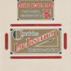 Etiquetas antiguas: ENVOLTORIO ETIQUETA SIN USAR DE CHOCOLATE CHOCOLATES LA JOSEFINA VALENCIA DE DON JUAN LEON. Lote 180314873