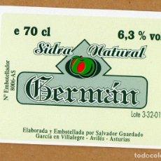 Etiquetas antiguas: ETIQUETA BOTELLA DE SIDRA NATURAL ASTURIAS. Lote 101178631