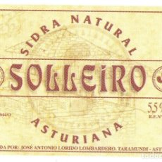 Etiquetas antiguas: ETIQUETA BOTELLA DE SIDRA NATURAL ASTURIAS. Lote 101178647