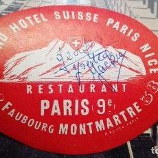 Etiquetas antiguas: GRAN HOTEL SUISSE PARIS NIZA FIRMADO. Lote 101638443