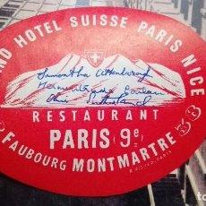 Etiquetas antiguas: GRAN HOTEL SUISSE PARIS NIZA FIRMADO. Lote 101638559