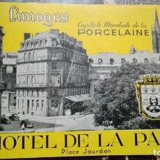 Etiquetas antiguas: HOTEL DE LA PAIX LIMOGES. Lote 101638951