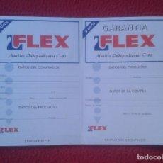 Etiquetas antiguas: JUEGO DE ETIQUETAS DE GARANTÍA COLCHONES FLEX AÑOS 80 90 APROX. ?? VER FOTO/S Y DESCRIPCIÓN. LABELS. Lote 102713959