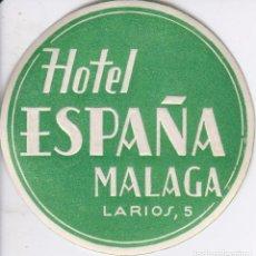 Etichette antiche: ANTIGUA ETIQUETA DEL HOTEL ESPAÑA DE MALAGA. Lote 102979163
