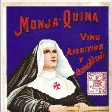 Etiquetas antiguas: ANTIGUA Y MUY BUSCADA ETIQUETA MONJA QUINA VINO APERTIVOS Y RECONSTITUYENTE JEREZ. (ESPAÑA). S/C. Lote 103908503
