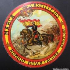 Etiquetas antiguas: VINO MARCA CASTILLEJOS ROMULO BOSCH Y ALSINA BARCELONA. GUERRA DE AFRICA GENERAL PRIM 29 CM DIAMETRO. Lote 104054207