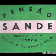 Etiquetas antiguas: HOTEL PENSÃO SANDE - LISBOA - PORTUGAL - ETIQUETA ANTIGUA DE HOTEL. Lote 104424099
