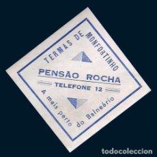 Etiquetas antiguas: ETIQUETA ANTIGUA DE HOTEL - PENSÃO ROCHA - TERMAS DE MONFORTINHO - PORTUGAL. Lote 104429367