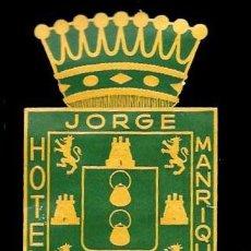Etiquetas antiguas: ETIQUETA ANTIGUA DE HOTEL - HOTEL JORGE MANRIQUE - PALENCIA - SPAIN. Lote 104430395