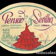 Etiquetas antiguas: HOTEL PENSAO SEVILHA - LISBOA - PORTUGAL - ETIQUETA ANTIGUA DE HOTEL. Lote 104485163