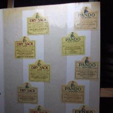 Etiquetas antiguas: LOTE DE 35 MINI ETIQUETAS DE BOTELLINES DE UNA BODEGA DE JEREZ.. Lote 104567691