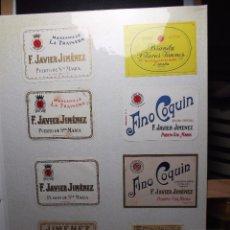 Etiquetas antiguas: LOTE DE 17 MINI ETIQUETAS DE BOTELLINES DE UNA BODEGA DE PUERTO STA. MARIA.. Lote 104568795