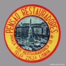 Etiquetas antiguas: HOTEL PENSAO RESTAURADORES - LISBOA - PORTUGAL - ETIQUETA ANTIGUA DE HOTEL. Lote 104691647