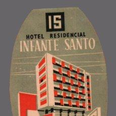 Etiquetas antiguas: HOTEL RESIDENCIAL INFANTE SANTO - LISBOA - PORTUGAL - ETIQUETA ANTIGUA DE HOTEL. Lote 104920467