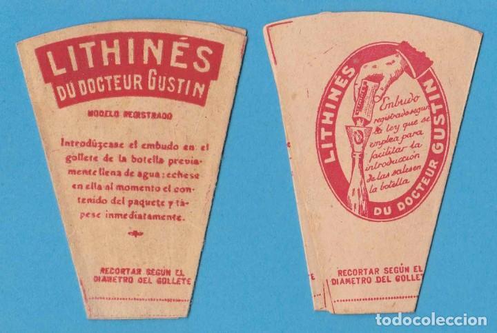 EMBUDO DE PAPEL. LITHINÉS DU DOCTEUR GUSTIN. (Coleccionismo - Etiquetas)