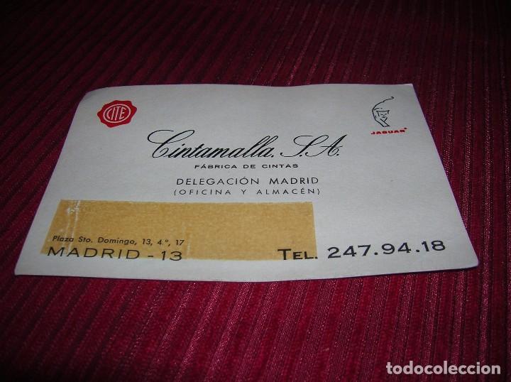 ad88850aba80 Antigua tarjeta anunciando Cintamalla, S. A.Fábrica de cintas.Madrid