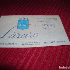 Etiquetas antiguas: TARJETA ANUNCIANDO LÁZARO VAJILLA Y CRISTALERIA .ELCHE ALICANTE . Lote 105915555