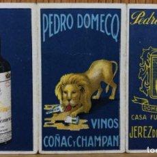 Etiquetas antiguas: PEDRO DOMECQ - VINOS, COÑAC Y CHAMPÁN - JEREZ DE LA FRONTERA - SOBRE PARA PALILLOS . Lote 106562051