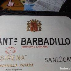 Etiquetas antiguas: ETIQUETA DE UNA BODEGA DE SANLUCAR BDA. . Lote 107542479