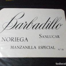 Etiquetas antiguas: ETIQUETA DE UNA BODEGA DE SANLUCAR BDA. . Lote 107542743