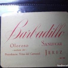 Etiquetas antiguas: ETIQUETA DE UNA BODEGA DE SANLUCAR BDA. . Lote 107542899