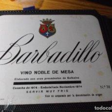 Etiquetas antiguas: ETIQUETA DE UNA BODEGA DE SANLUCAR BDA. . Lote 107543035