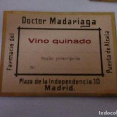 Etiquetas antiguas: ETIQUETAS FARMACIA ANTIGUAS DOCTOR MADARIAGA. MADRID. Lote 107727267
