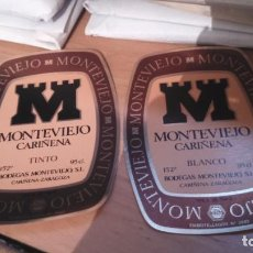 Étiquettes anciennes: ETIQUETAS VINO. 2. MONTEVIEJO CARIÑENA. TINTO Y BLANCO. Lote 107906531
