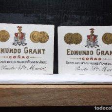Etiquetas antiguas: LOTE DE DOS ETIQUETAS MINIATURA DE UNA BODEGA DE PUERTO DE SANTA MARIA. ANTIGUA.. Lote 108366147