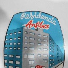 Etiquetas antiguas: ETIQUETA RESIDENCIA ANTIBES - BARCELONA. Lote 109023371