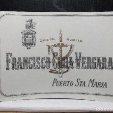 Etiquetas antiguas: ETIQUETA DE UNA BODEGA DE PUERTO DE SANTA MARIA.. Lote 109179199
